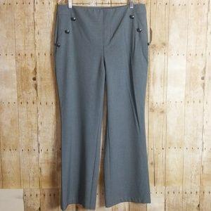 Roz & Ali Gray Flat Front Trouser Size 14